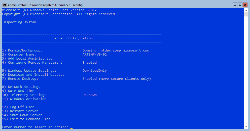 SConfig in Windows Server, version 2004: white                                  text in console on blue background