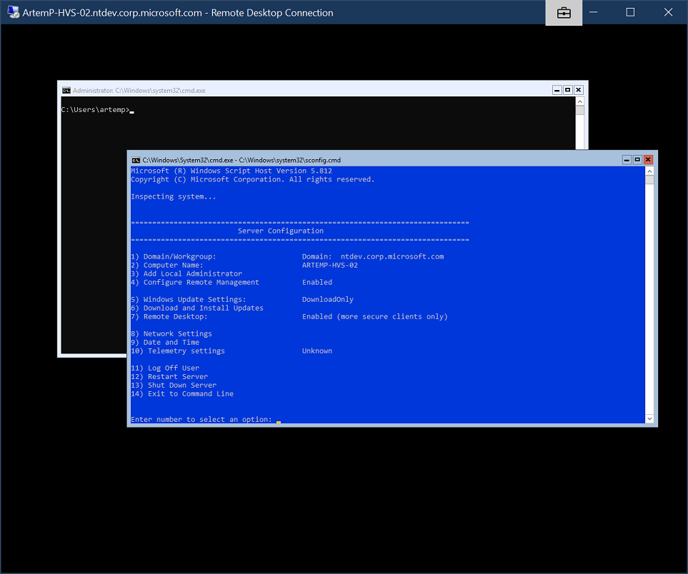 Hyper-V Server: SConfig starts in a separate                                 window, overlapping the CMD window